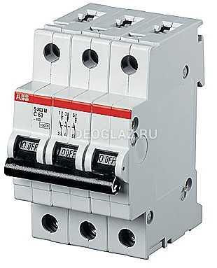 ABB S203P Автоматический выключатель 3P 63А (D) (2CDS283001R0631)