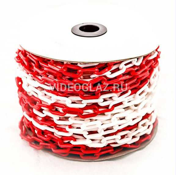 Цепь пластиковая красно-белая 6мм