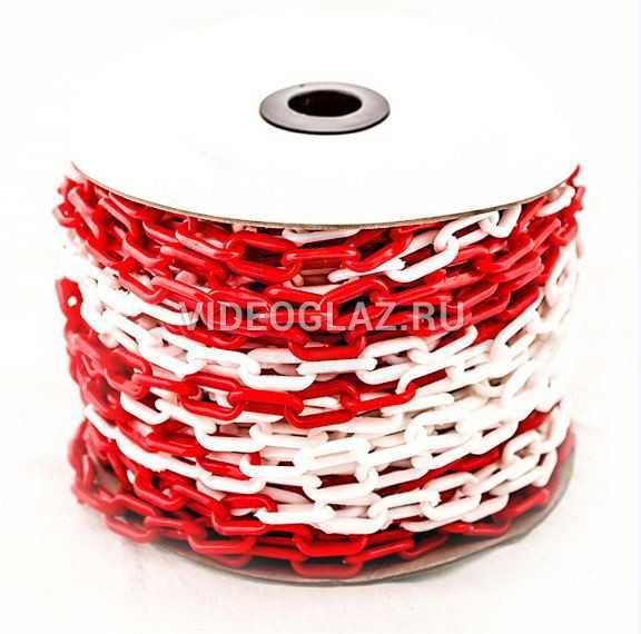 Цепь пластиковая красно-белая 8мм